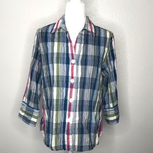 Foxcroft Top Size 12 Fitted Stretch Plaid Crinkle